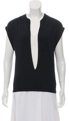 Allude Sleeveless Plunge Neck Top