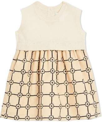 0851e103c36 Burberry Knit Cashmere and Flower Print Cotton Dress