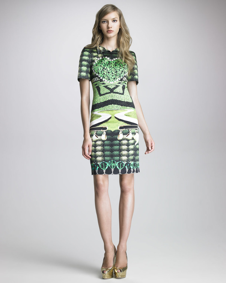 Mary Katrantzou Cartel Printed Satin Dress