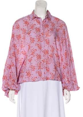 Alexis Collared Floral Print Top