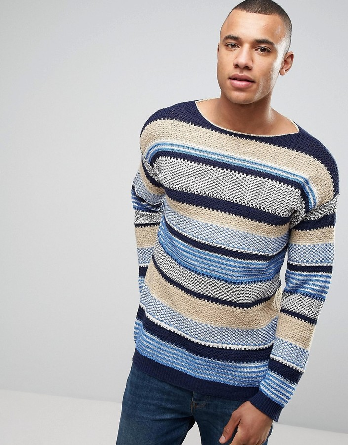 BenettonUnited Colors of Benetton Crew Neck Knit in Loose Stripe Woven Detail