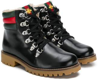 Gucci Kids embroidered bee tongue boots