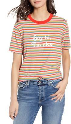 ban.do Vintage Stripe Say Hi I'm Nice Cotton Ringer Tee