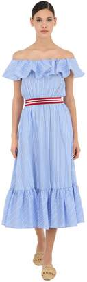 Stella Jean Off-The-Shoulder Striped Cotton Dress