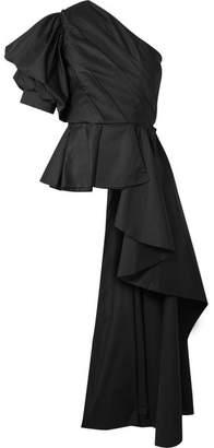 Johanna Ortiz Pampas One-shoulder Cotton-blend Poplin Top - Black