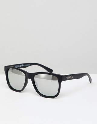Pull&Bear square sunglasses in black with silver mirrored lenses