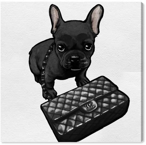 'Classy Frenchie Noir' Graphic Art Print on Canvas Format: Wrapped Canvas,
