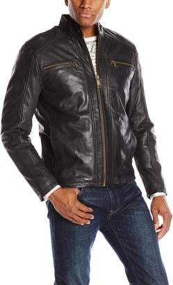 Andrew Marc Men's Laser Leather Moto Jacket