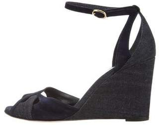 Vanessa Seward Denim Peep-Toe Wedges