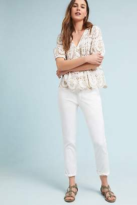 Anthropologie Chino By Relaxed Embroidered Chino Trousers