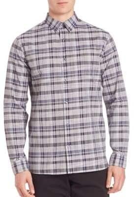 Vince Multi-Plaid Woven Button-Down Shirt