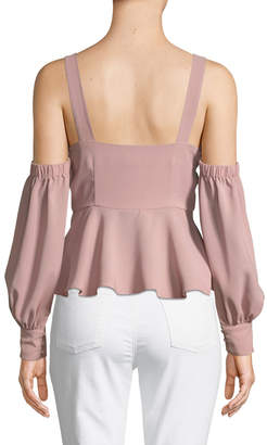 J.o.a. Cold-Shoulder Peplum Long-Sleeve Blouse