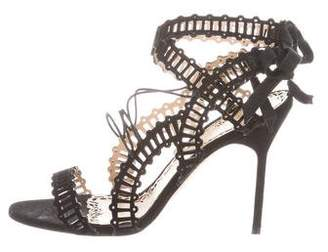 Marchesa Multistrap Lace-Up Sandals
