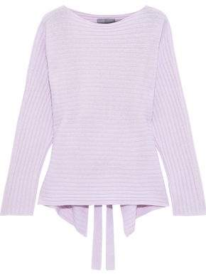 Vince Cutout Ribbed Melange Wool And Cashmere-blend Sweater