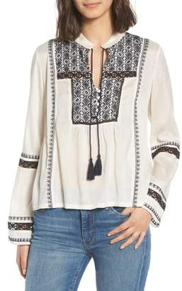 Hinge Lace Inset Embroidered Top
