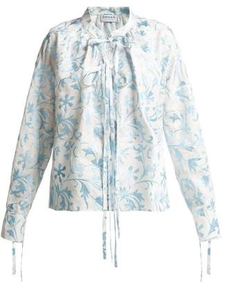 Osman Jacky Embroidered Linen Shirt - Womens - Blue Multi