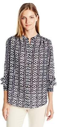 Jones New York Women's Mossaic Printed Clip Dot Long Sleeve Top $25.55 thestylecure.com
