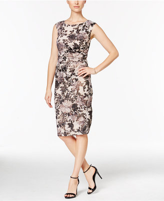 Adrianna Papell Floral-Print Ruched Sheath Dress $199 thestylecure.com