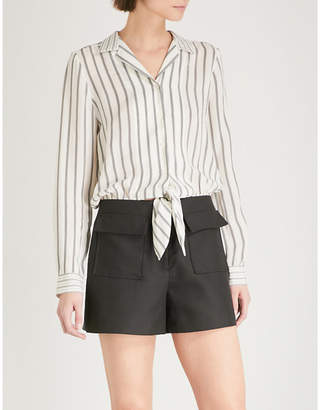 Sandro Striped satin and cotton-blend playsuit