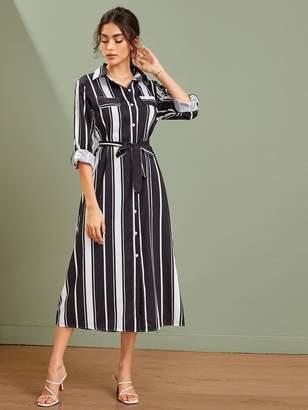 Shein Vertical-striped Rolled Sleeve Self Tie Shirt Dress