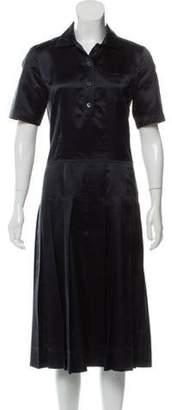 Prada Silk Pleated Dress Navy Silk Pleated Dress