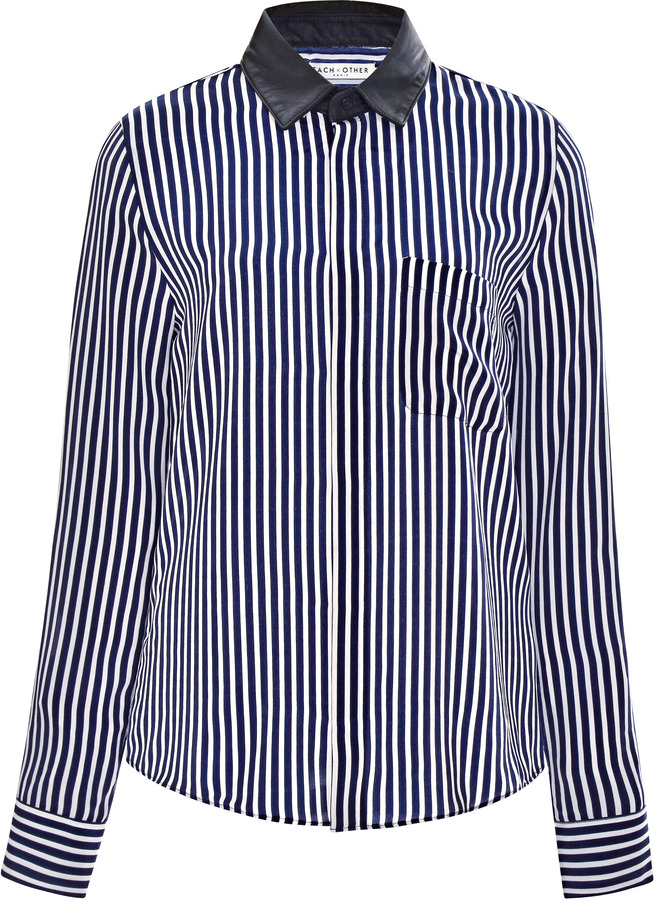 Each x Other Striped Silk-Satin Blouse