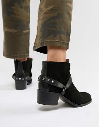 Hudson London Black Suede Western Ankle Boots