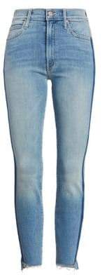 Mother Racing Stripe Ankle Skinny Jeans