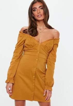 Missguided Mustard Ruffle Bardot A Line Dress