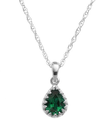Tiara Sterling Silver Lab-Created Emerald Teardrop Pendant