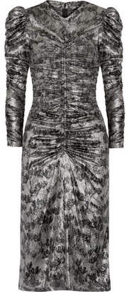 Isabel Marant Damia Ruched Printed Silk-blend Lamé Midi Dress - Silver