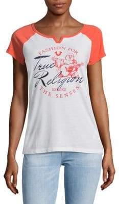 True Religion Graphic Slip-On V-Neck Tee