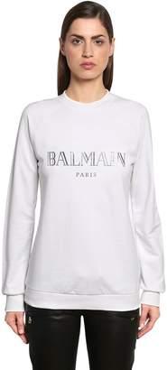 Balmain Silver Logo Cotton Jersey Sweatshirt
