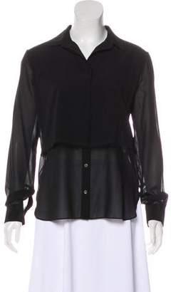 Alexander Wang Silk Long Sleeve Button-Up Top