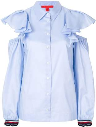 Tommy Hilfiger ruffled cold shoulder shirt