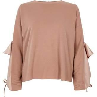 River Island Womens Pink satin frill sleeve sweatshirt