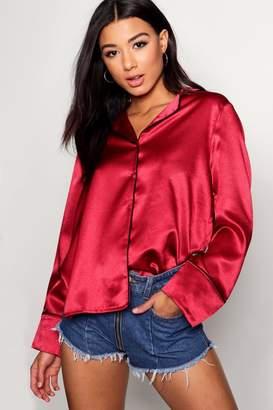 boohoo Satin Piped Pyjama Shirt