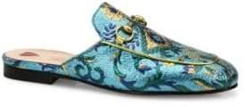 Gucci Princetown Metallic Brocade Loafer Slides
