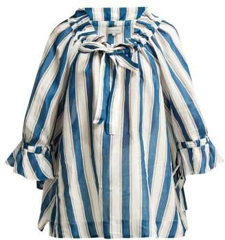 Lee Mathews - Watson Striped Linen Blouse - Womens - Blue