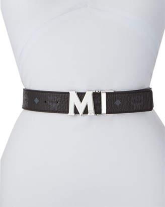 MCM Reversible M-Buckle Belt - Silvertone Buckle