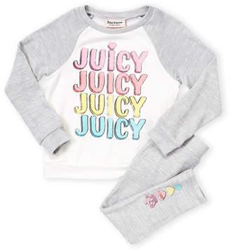 Juicy Couture Toddler Girls) Two-Piece Raglan Fleece Pajama Set