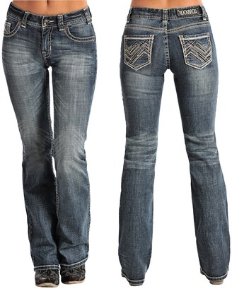 Rock & Roll Denim Rock & Roll Cowgirl Zigzag and Rhinestone Pocket Jeans - Bootcut (For Women) $34.99 thestylecure.com