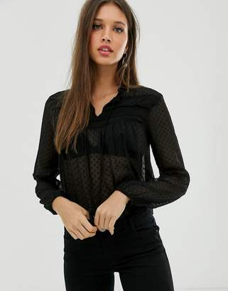 JDY lace blouse in black