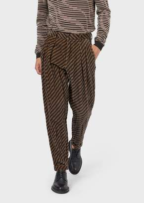 Giorgio Armani Striped Velvet Trousers