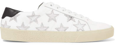 Saint Laurent - Appliquéd Metallic-trimmed Leather Sneakers - White