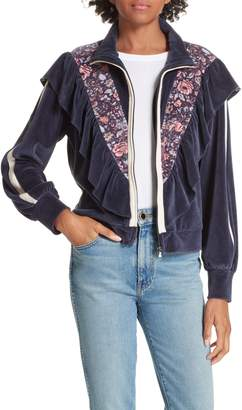 Rebecca Taylor Toile Cotton Blend Velour Jacket