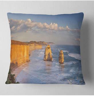 "Designart Twelve Apostles on Ocean Road Seashore Throw Pillow - 18"" x 18"""