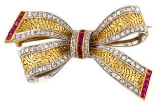 Brooch Victorian Diamond & Ruby Bow Brooch