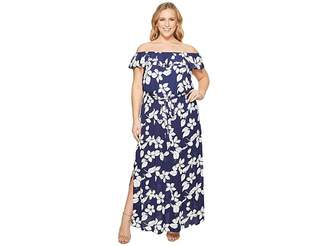 Adrianna Papell Plus Size Simple Delight Ruffle Maxi Women's Dress