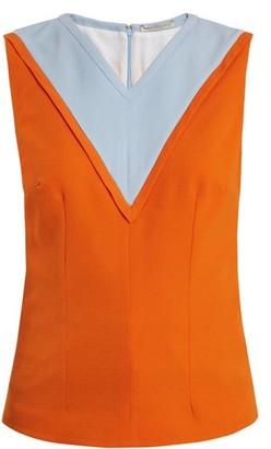 Emilia Wickstead Iggy Contrast Panel Crepe Top - Womens - Orange